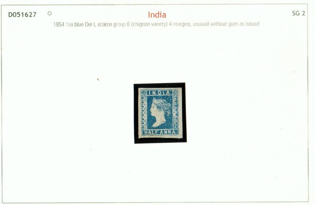 India 1854 QV ½a blue unused