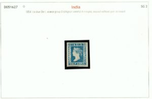 India 1854 QV ½a blue unused