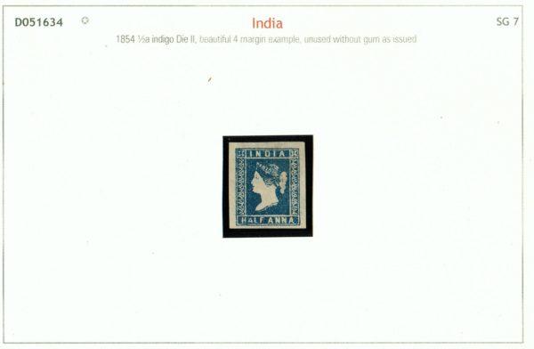 India 1854 QV ½a indigo