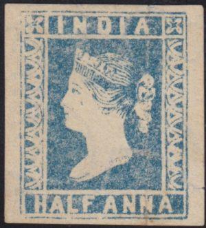 India 1854 QV ½a pale blue